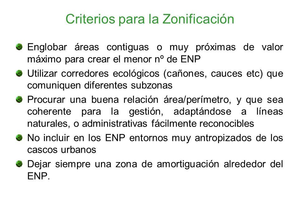 Criterios para la Zonificación Englobar áreas contiguas o muy próximas de valor máximo para crear el menor nº de ENP Utilizar corredores ecológicos (c
