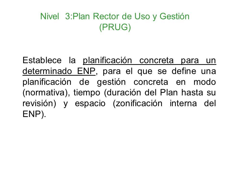 Nivel 3:Plan Rector de Uso y Gestión (PRUG) Establece la planificación concreta para un determinado ENP, para el que se define una planificación de ge