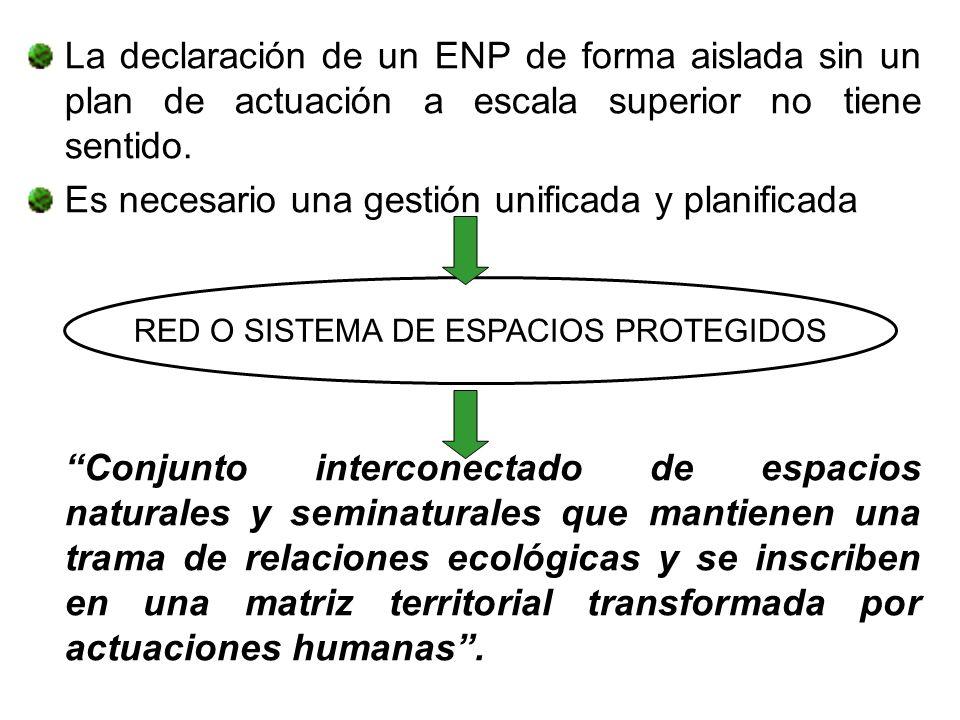 La declaración de un ENP de forma aislada sin un plan de actuación a escala superior no tiene sentido. Es necesario una gestión unificada y planificad