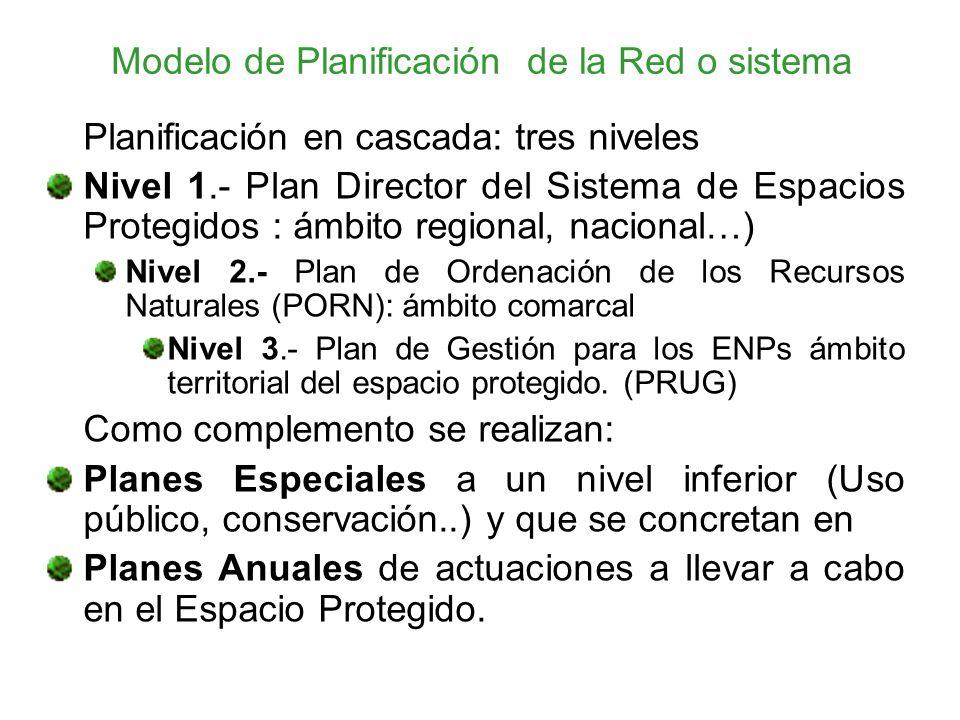Modelo de Planificación de la Red o sistema Planificación en cascada: tres niveles Nivel 1.- Plan Director del Sistema de Espacios Protegidos : ámbito