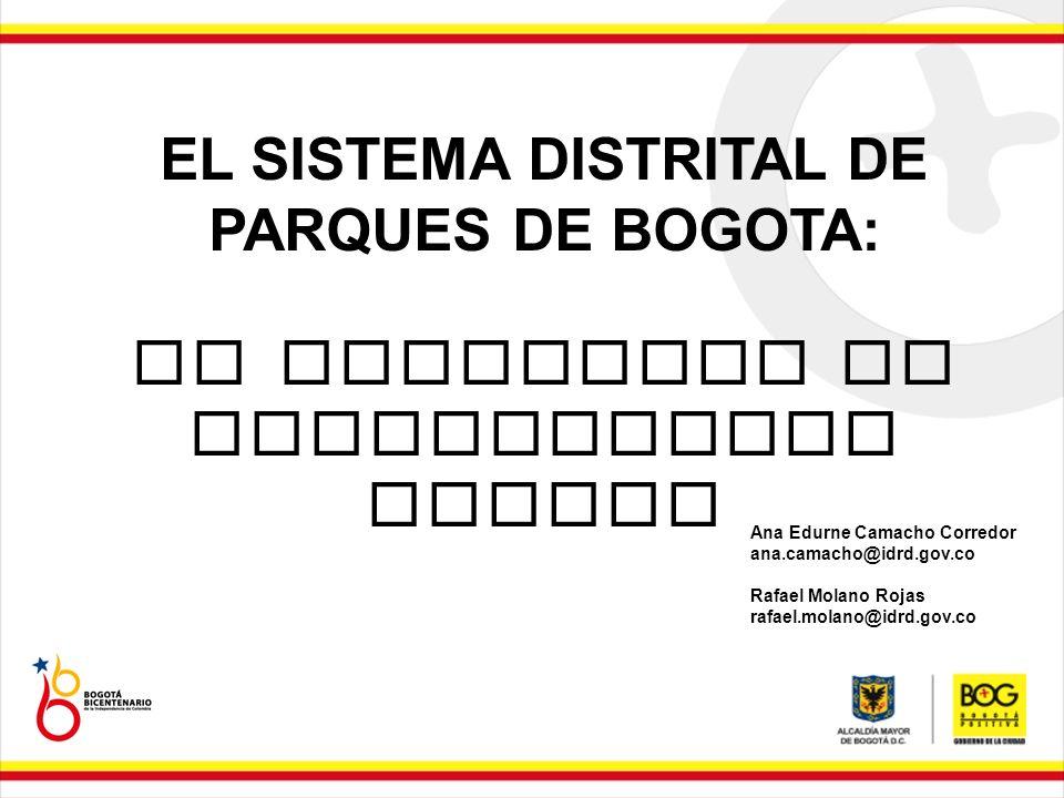 EL SISTEMA DISTRITAL DE PARQUES DE BOGOTA: UN ESCENARIO DE CONSTRUCCION SOCIAL Ana Edurne Camacho Corredor ana.camacho@idrd.gov.co Rafael Molano Rojas