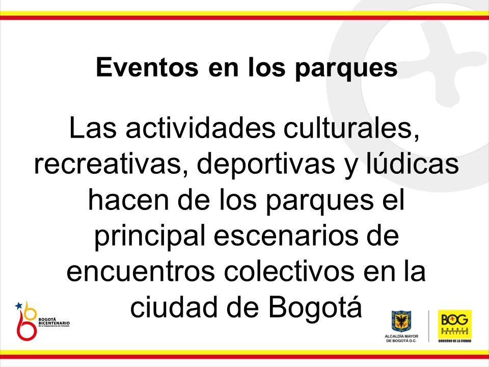 Eventos en los parques Las actividades culturales, recreativas, deportivas y lúdicas hacen de los parques el principal escenarios de encuentros colect