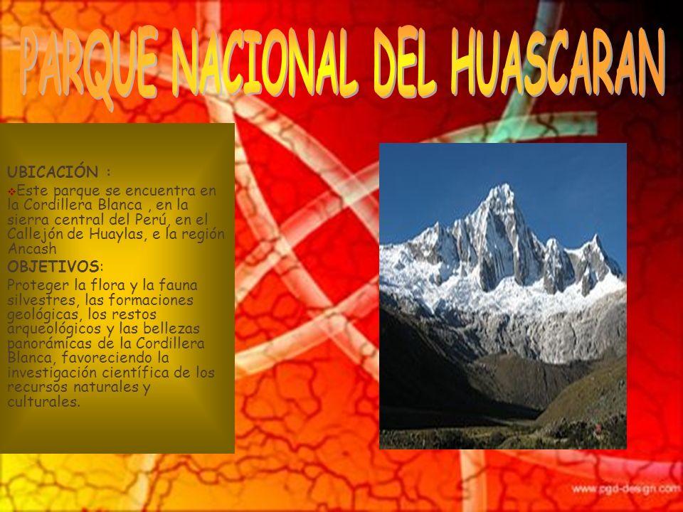 UBICACIÓN : Este parque se encuentra en la provincia de Cutervo en Cajamarca. OBJETIVOS: Conservar la flora, fauna y bellezas escénicas de la cordille