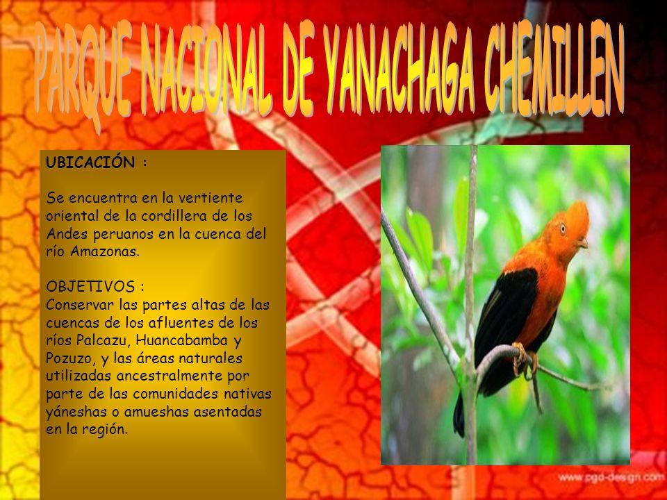 OBJETIVOS : Fue establecido con el objeto de conservar sus ambientes naturales y las especies que contienen IMPORTANCIA ECOLOGICA : Radica en que tien