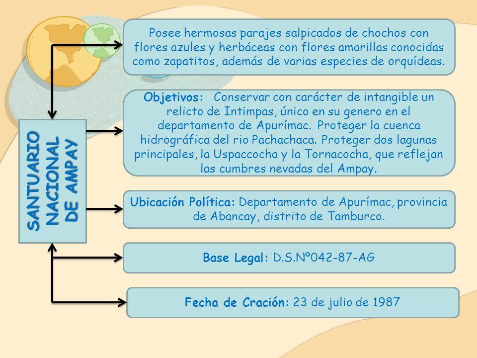 Base Legal: D.S.Nº015-84-AG Fecha de Creación: 24 de febrero de1984 Ubicación Política: Departamento de Arequipa, provincias de Mejía y Dean Valdivia.