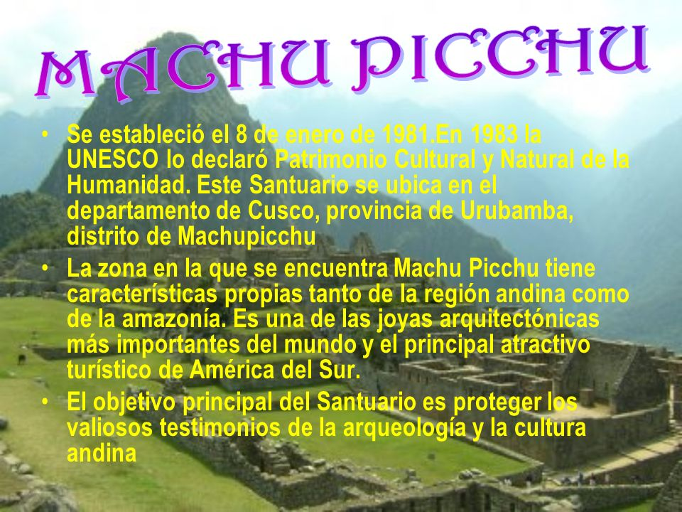 Se estableció el 7 de agosto de 1974. Ubicado en el departamento de Junín, provincia de Junín y cuenta con una superficie de 2 500 hectáreas. La veget