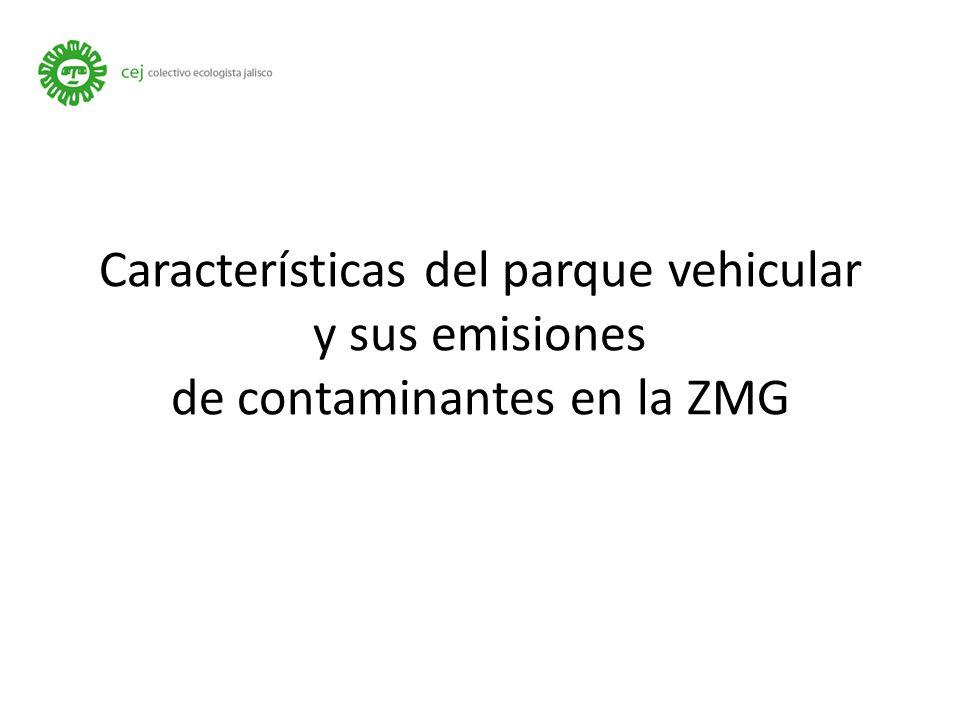 Características del parque vehicular y sus emisiones de contaminantes en la ZMG