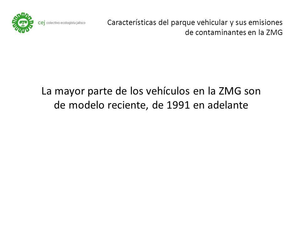 Características del parque vehicular y sus emisiones de contaminantes en la ZMG La mayor parte de los vehículos en la ZMG son de modelo reciente, de 1991 en adelante