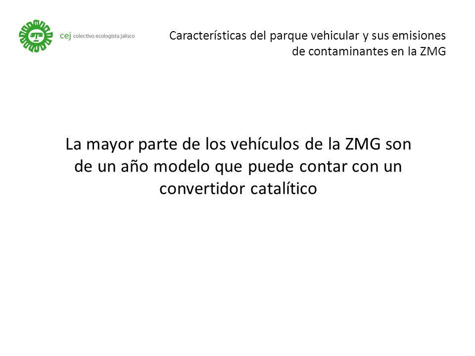 Características del parque vehicular y sus emisiones de contaminantes en la ZMG La mayor parte de los vehículos de la ZMG son de un año modelo que puede contar con un convertidor catalítico