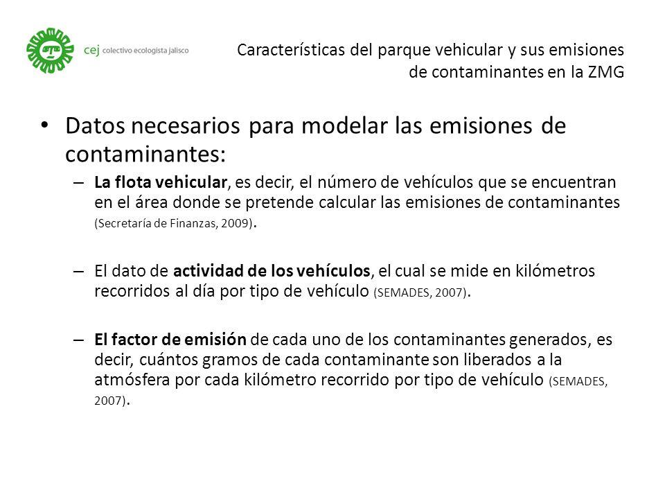 Datos necesarios para modelar las emisiones de contaminantes: – La flota vehicular, es decir, el número de vehículos que se encuentran en el área donde se pretende calcular las emisiones de contaminantes (Secretaría de Finanzas, 2009).