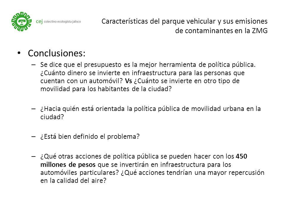 Características del parque vehicular y sus emisiones de contaminantes en la ZMG Conclusiones: – Se dice que el presupuesto es la mejor herramienta de