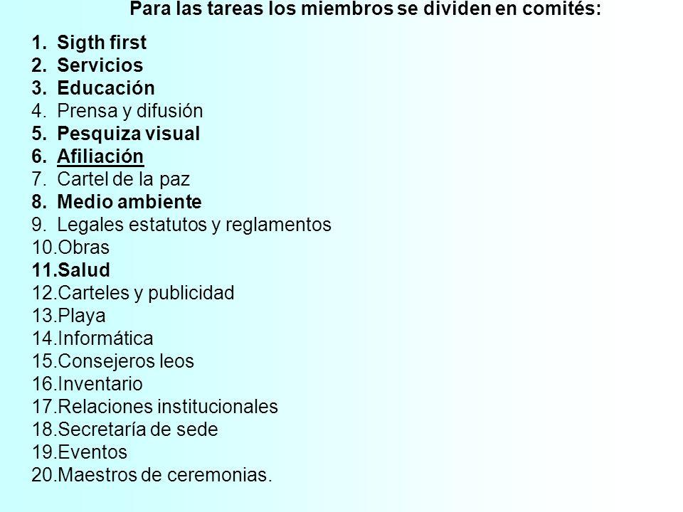 Para las tareas los miembros se dividen en comités: 1.Sigth first 2.Servicios 3.Educación 4.Prensa y difusión 5.Pesquiza visual 6.Afiliación 7.Cartel