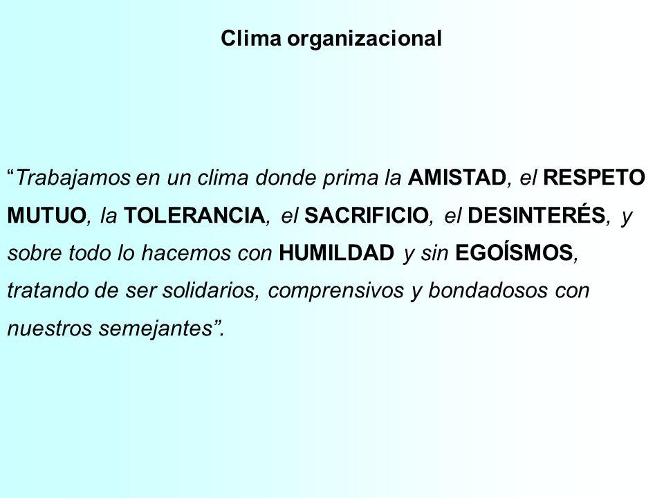 Clima organizacional Trabajamos en un clima donde prima la AMISTAD, el RESPETO MUTUO, la TOLERANCIA, el SACRIFICIO, el DESINTERÉS, y sobre todo lo hac