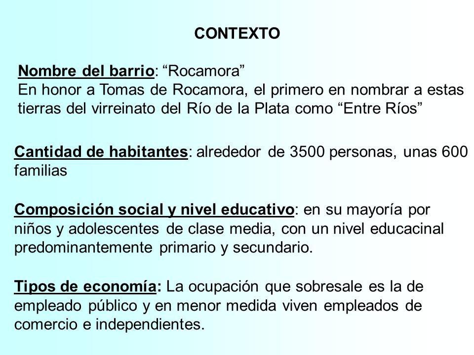 CONTEXTO Nombre del barrio: Rocamora En honor a Tomas de Rocamora, el primero en nombrar a estas tierras del virreinato del Río de la Plata como Entre