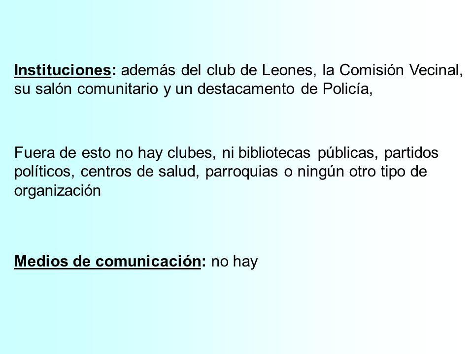 Instituciones: además del club de Leones, la Comisión Vecinal, su salón comunitario y un destacamento de Policía, Fuera de esto no hay clubes, ni bibl