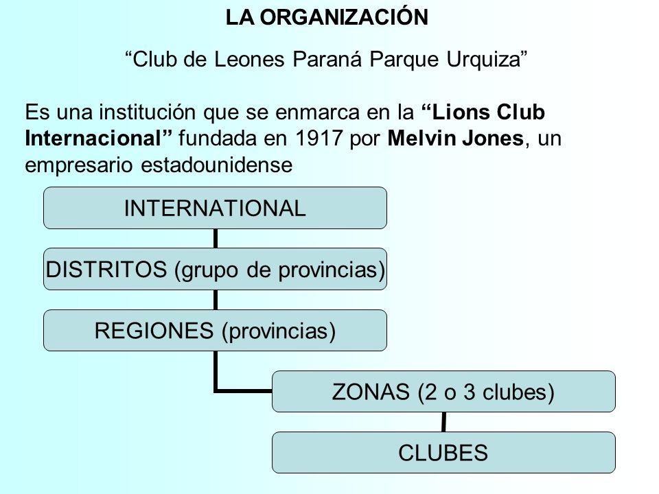 LA ORGANIZACIÓN Club de Leones Paraná Parque Urquiza Es una institución que se enmarca en la Lions Club Internacional fundada en 1917 por Melvin Jones