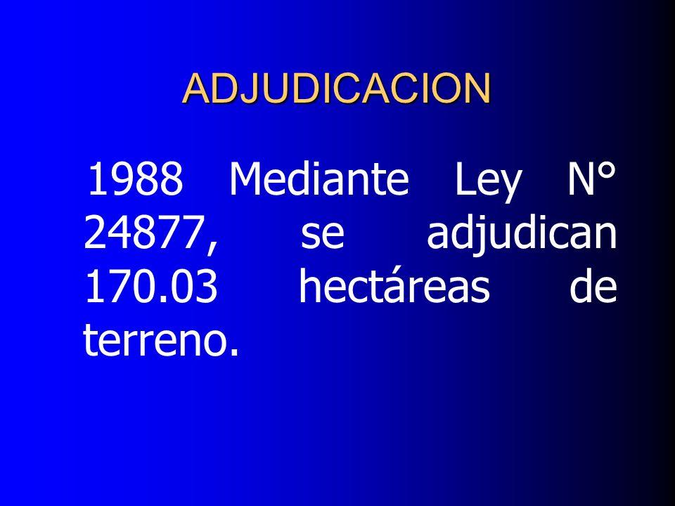 1988 Mediante Ley N° 24877, se adjudican 170.03 hectáreas de terreno. ADJUDICACION