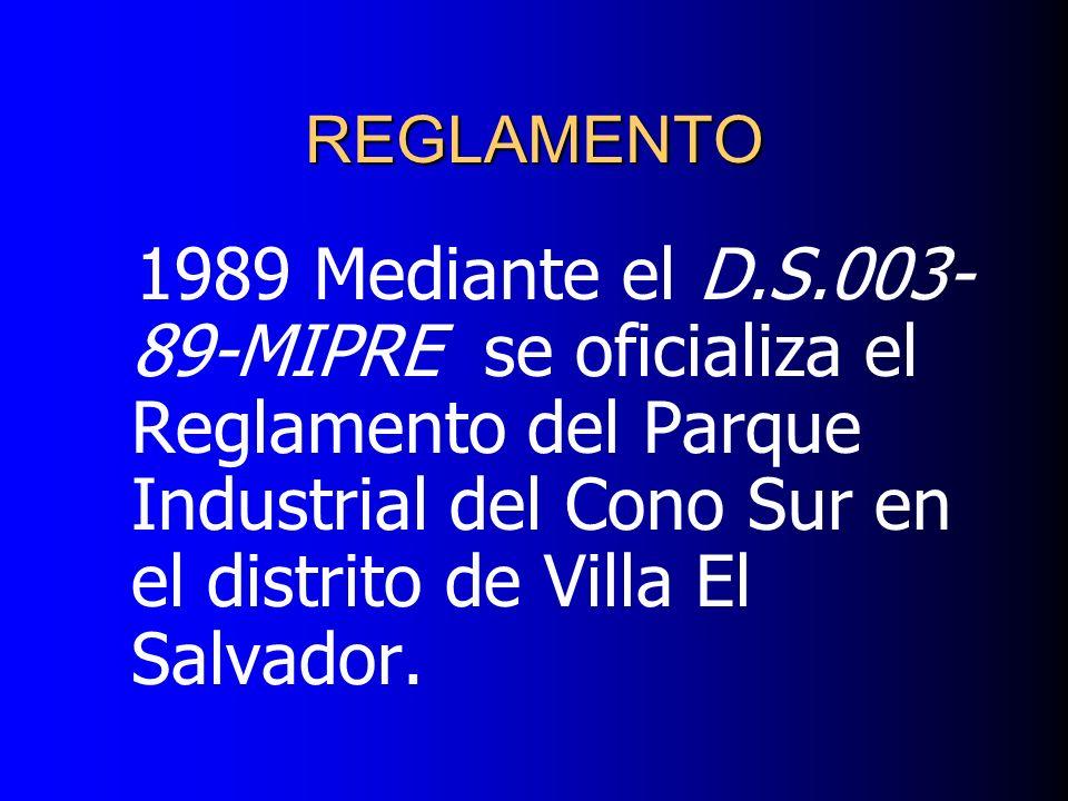 1989 Mediante el D.S.003- 89-MIPRE se oficializa el Reglamento del Parque Industrial del Cono Sur en el distrito de Villa El Salvador. REGLAMENTO