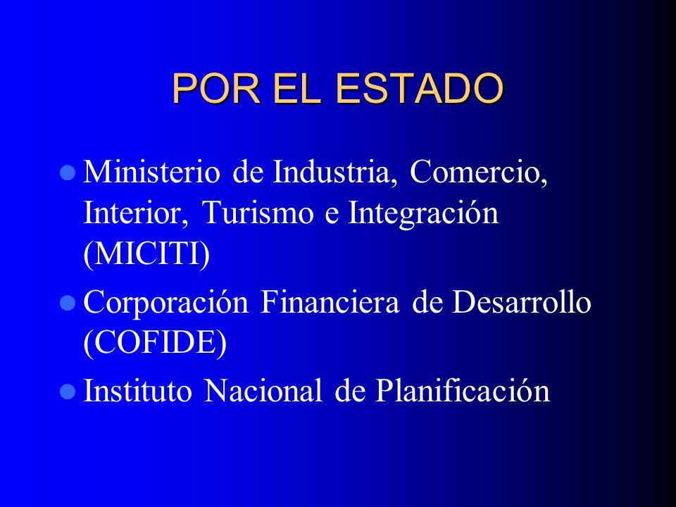 POR EL ESTADO Ministerio de Industria, Comercio, Interior, Turismo e Integración (MICITI) Corporación Financiera de Desarrollo (COFIDE) Instituto Nacional de Planificación
