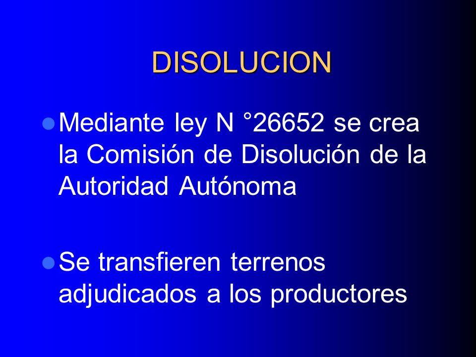 DISOLUCION Mediante ley N °26652 se crea la Comisión de Disolución de la Autoridad Autónoma Se transfieren terrenos adjudicados a los productores