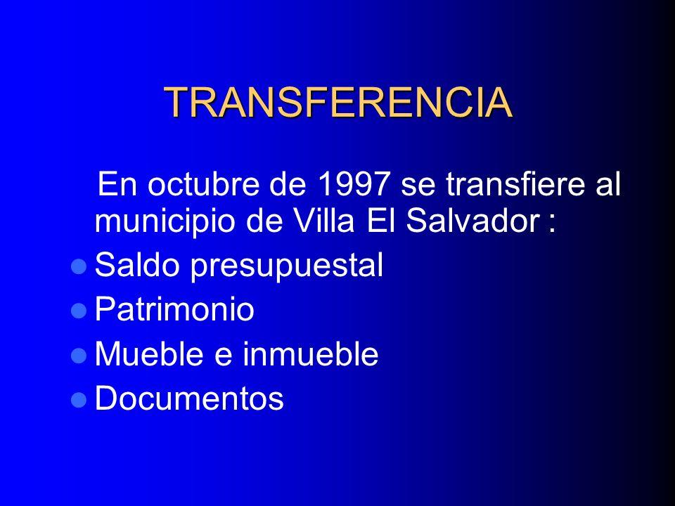 TRANSFERENCIA En octubre de 1997 se transfiere al municipio de Villa El Salvador : Saldo presupuestal Patrimonio Mueble e inmueble Documentos