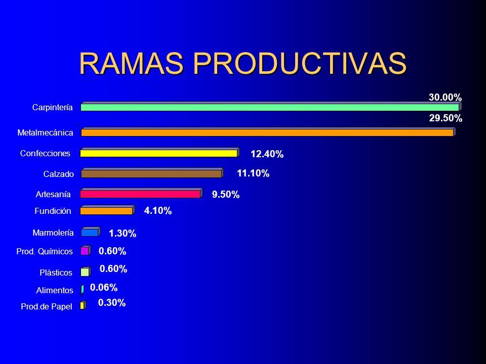 RAMAS PRODUCTIVAS 29.50% Metalmecánica 30.00% Carpintería 12.40% Confecciones 11.10% Calzado 9.50% Artesanía 4.10% Fundición 1.30% Marmolería 0.60% Prod.