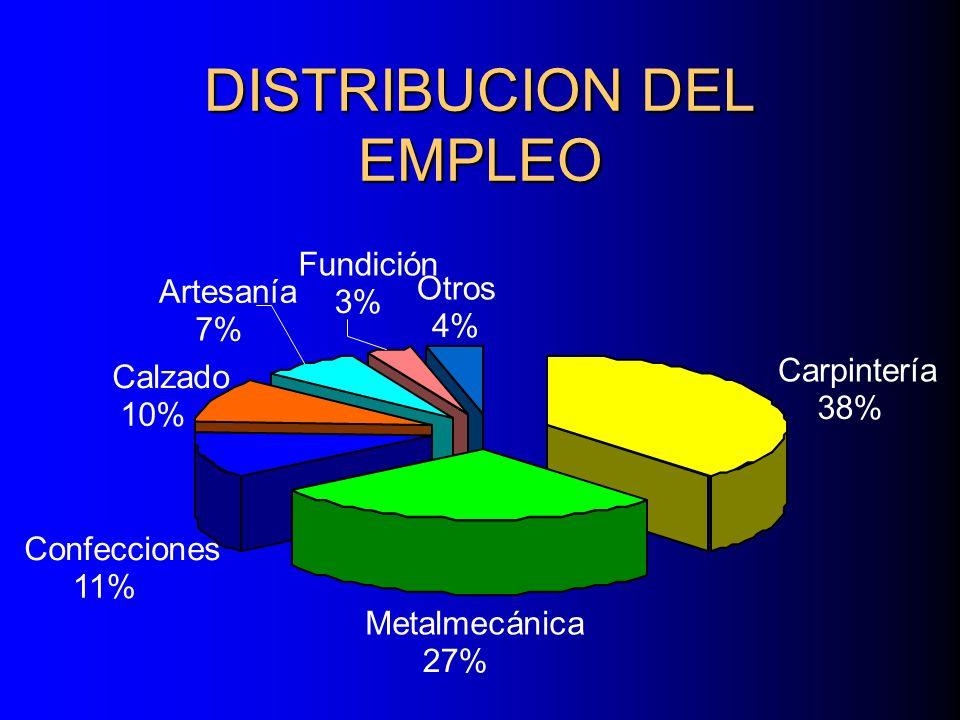 DISTRIBUCION DEL EMPLEO Carpintería 38% Metalmecánica 27% Confecciones 11% Otros 4% Fundición 3% Artesanía 7% Calzado 10%