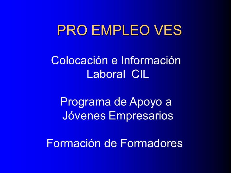 PRO EMPLEO VES Colocación e Información Laboral CIL Programa de Apoyo a Jóvenes Empresarios Formación de Formadores