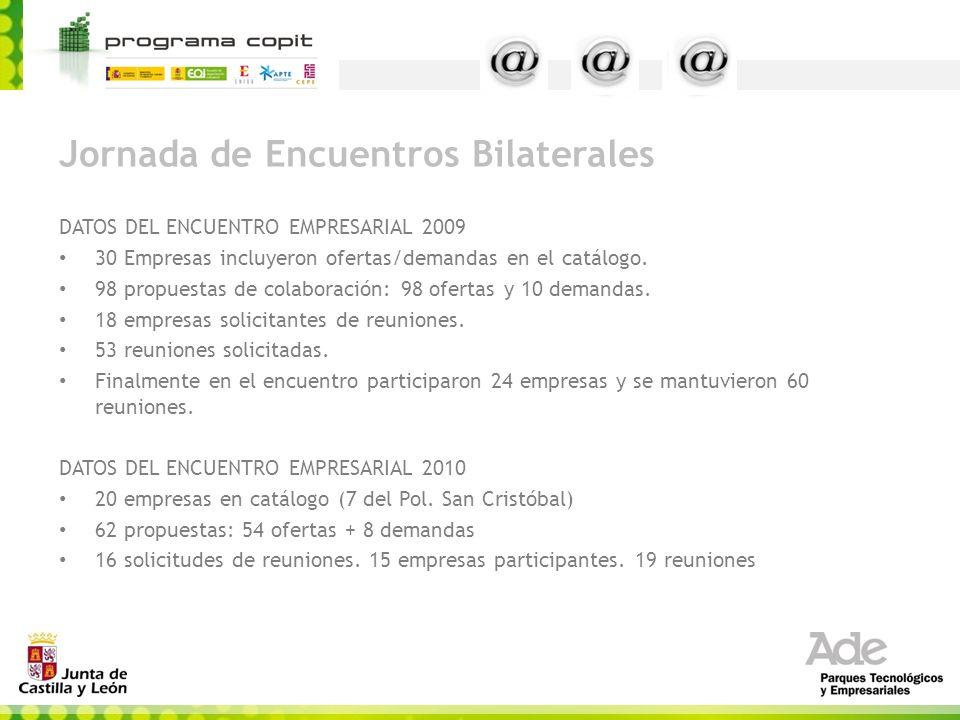 Jornada de Encuentros Bilaterales DATOS DEL ENCUENTRO EMPRESARIAL 2009 30 Empresas incluyeron ofertas/demandas en el catálogo. 98 propuestas de colabo
