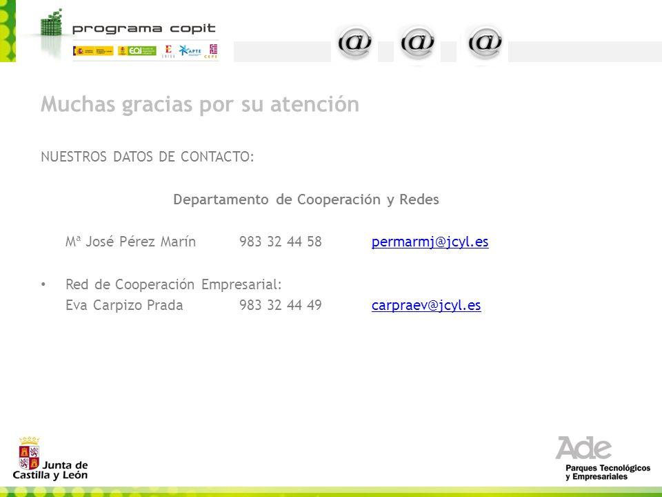 Muchas gracias por su atención NUESTROS DATOS DE CONTACTO: Departamento de Cooperación y Redes Mª José Pérez Marín983 32 44 58permarmj@jcyl.espermarmj