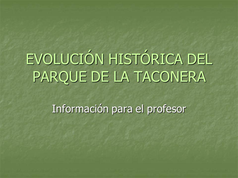 EVOLUCIÓN HISTÓRICA DEL PARQUE DE LA TACONERA Información para el profesor