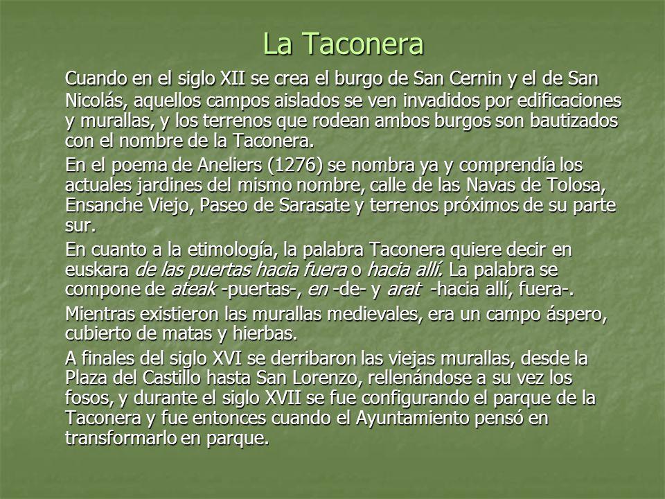 La Taconera Cuando en el siglo XII se crea el burgo de San Cernin y el de San Nicolás, aquellos campos aislados se ven invadidos por edificaciones y murallas, y los terrenos que rodean ambos burgos son bautizados con el nombre de la Taconera.