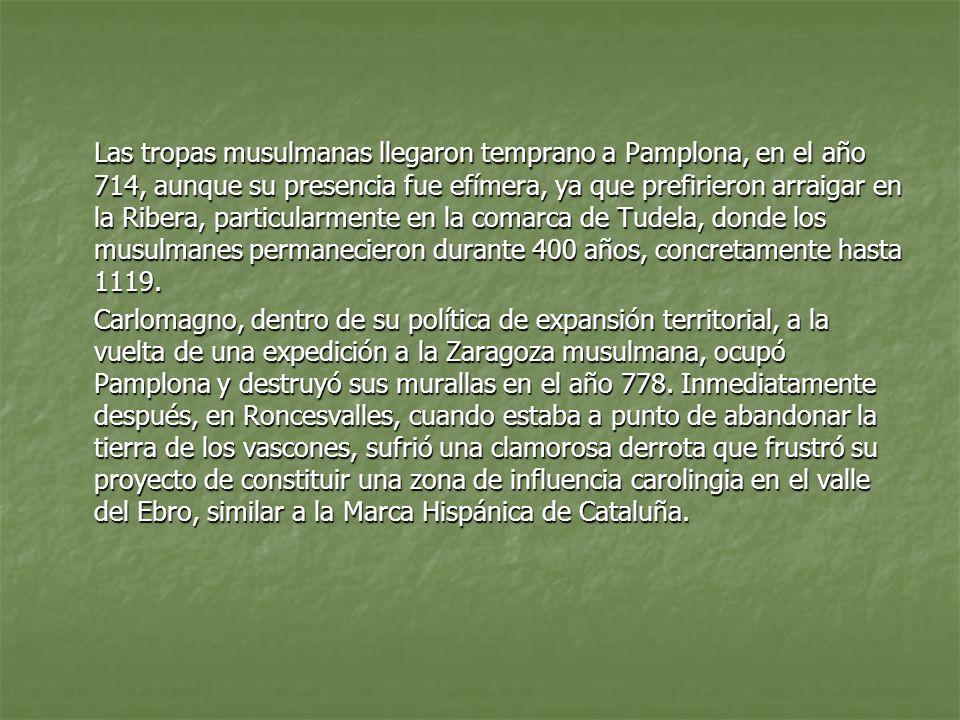 Reino de Pamplona Tras los episodios visigodos, musulmanes y carolingios, en la segunda mitad del siglo IX la ciudad se afianza en el emergente núcleo cristiano, que al igual que en Aragón y Asturias, se configura como elemento de oposición frente al Islam instalado en el territorio de la monarquía visigoda.