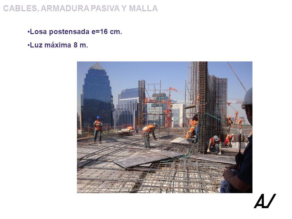 CABLES, ARMADURA PASIVA Y MALLA Losa postensada e=16 cm. Luz máxima 8 m.