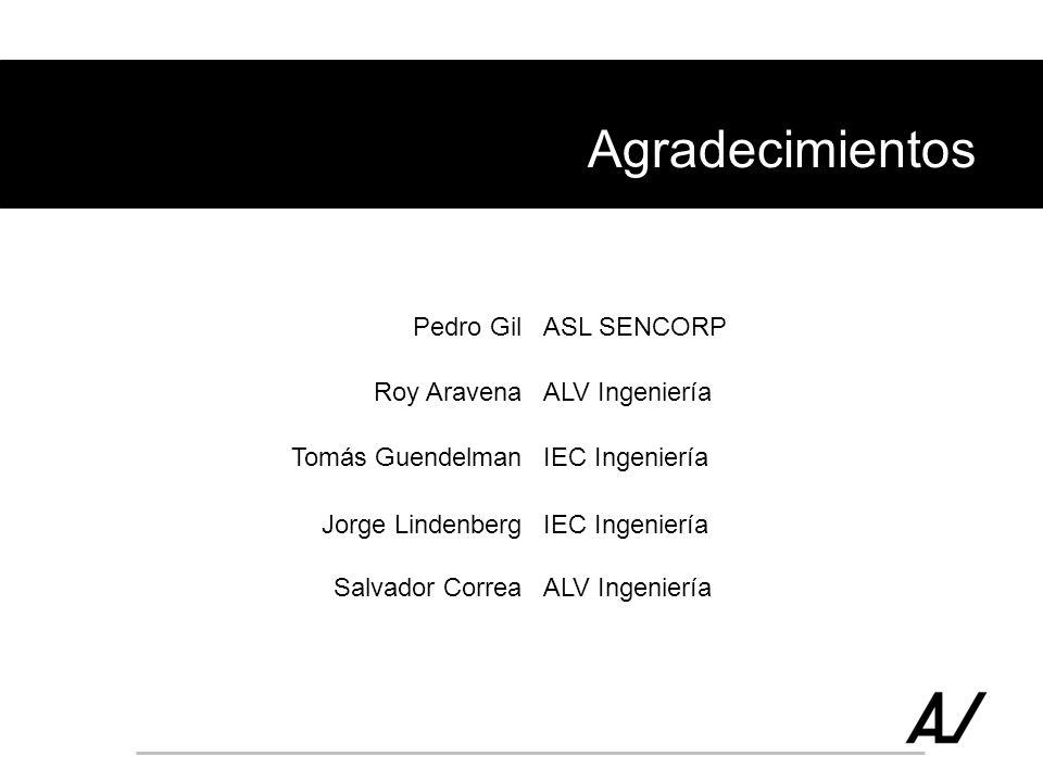 Agradecimientos Pedro GilASL SENCORP Roy AravenaALV Ingeniería Tomás GuendelmanIEC Ingeniería Jorge LindenbergIEC Ingeniería Salvador CorreaALV Ingeni