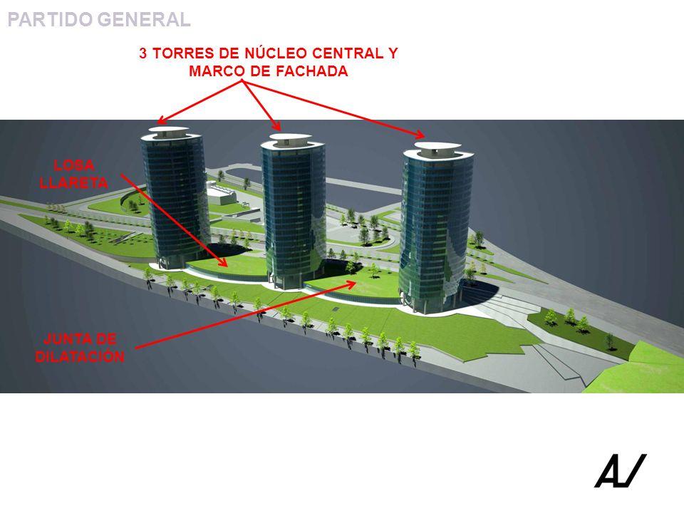 3 TORRES DE NÚCLEO CENTRAL Y MARCO DE FACHADA LOSA LLARETA JUNTA DE DILATACIÓN