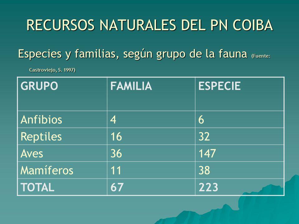 RECURSOS NATURALES DEL PN COIBA Especies y familias, según grupo de la fauna (Fuente: Castroviejo, S. 1997) GRUPOFAMILIAESPECIE Anfibios46 Reptiles163