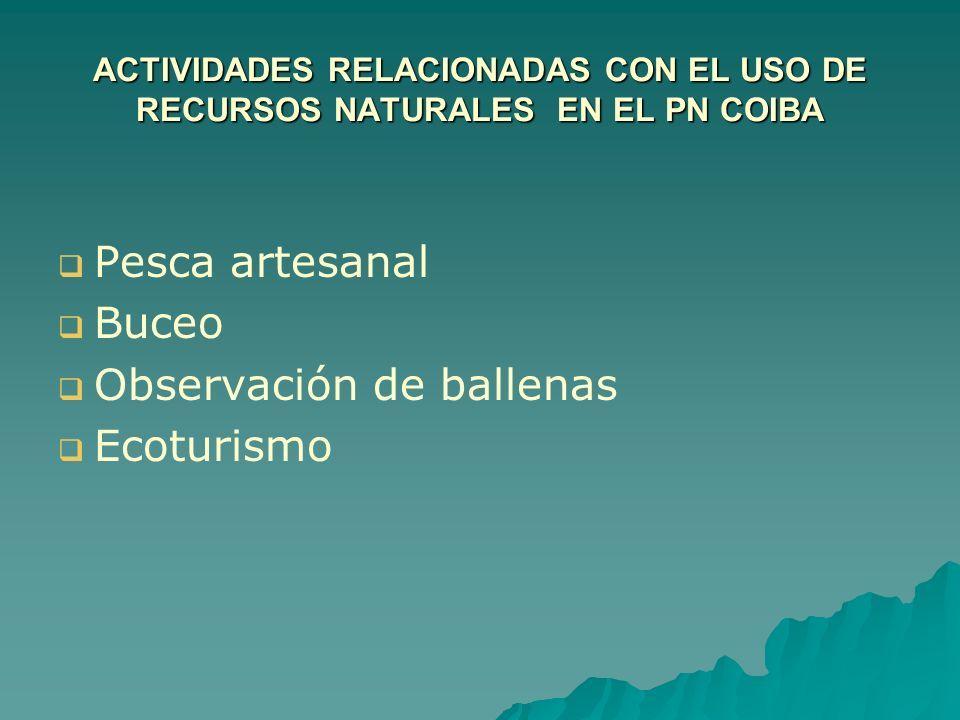 ACTIVIDADES RELACIONADAS CON EL USO DE RECURSOS NATURALES EN EL PN COIBA Pesca artesanal Buceo Observación de ballenas Ecoturismo