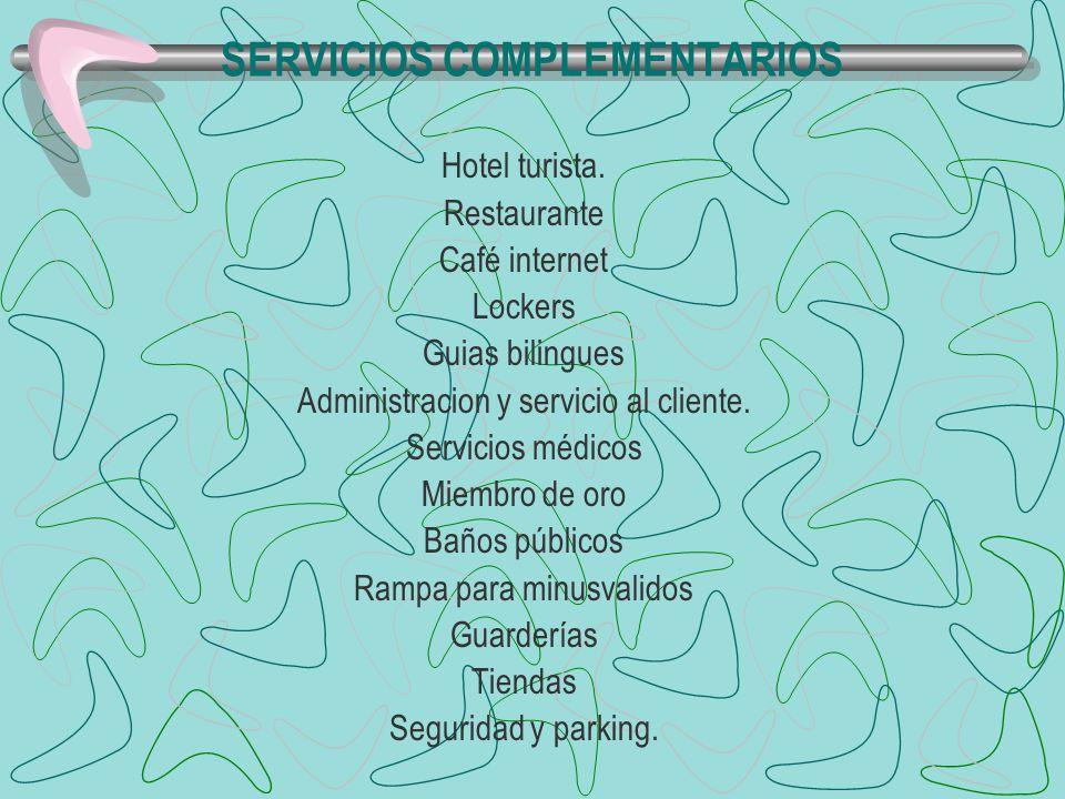 SERVICIOS COMPLEMENTARIOS Hotel turista. Restaurante Café internet Lockers Guias bilingues Administracion y servicio al cliente. Servicios médicos Mie