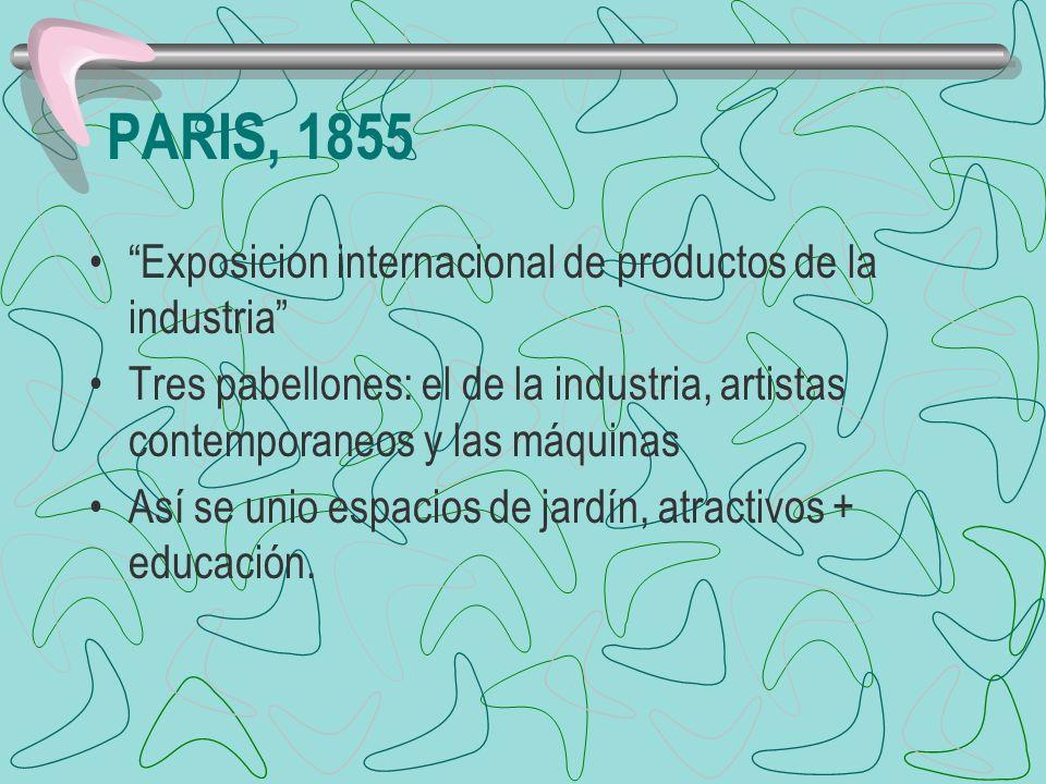 PARIS, 1855 Exposicion internacional de productos de la industria Tres pabellones: el de la industria, artistas contemporaneos y las máquinas Así se u