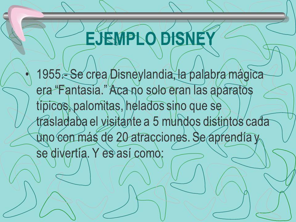 EJEMPLO DISNEY 1955.- Se crea Disneylandia, la palabra mágica era Fantasia. Aca no solo eran las aparatos típicos, palomitas, helados sino que se tras