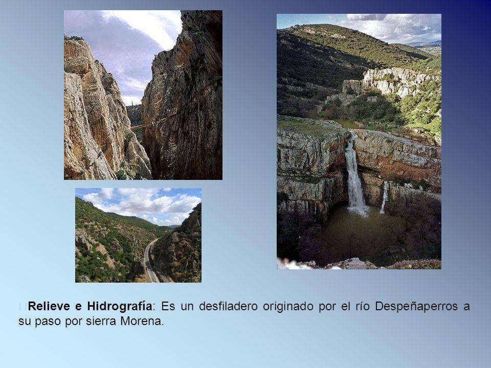 Relieve e Hidrografía: Es un desfiladero originado por el río Despeñaperros a su paso por sierra Morena.