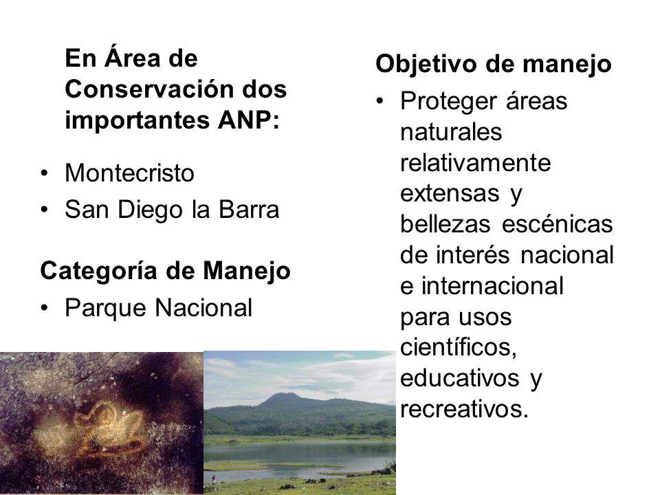 En Área de Conservación dos importantes ANP: Montecristo San Diego la Barra Categoría de Manejo Parque Nacional Objetivo de manejo Proteger áreas natu