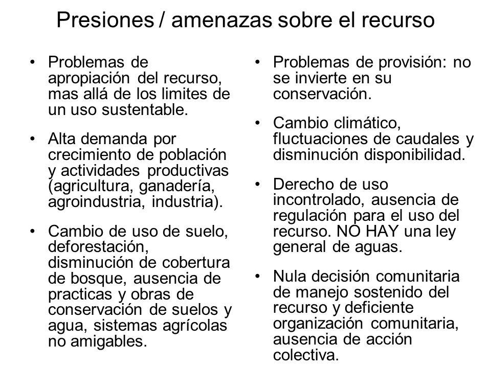 Presiones / amenazas sobre el recurso Problemas de apropiación del recurso, mas allá de los limites de un uso sustentable. Alta demanda por crecimient