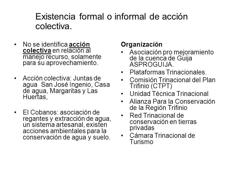 Existencia formal o informal de acción colectiva. No se identifica acción colectiva en relación al manejo recurso, solamente para su aprovechamiento.