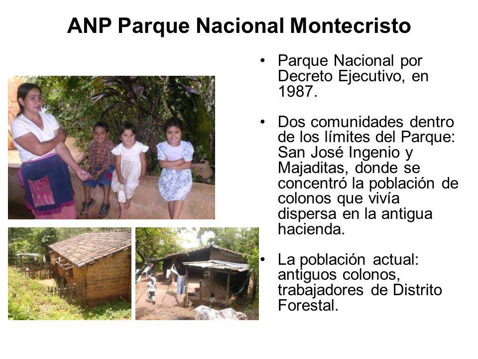 Vivienda, solares comunidades Infraestructura social Crianza de especies menores Abastecimiento agua Aprovechamiento leña y ocote Parque Nacional Montecristo Uso actuales