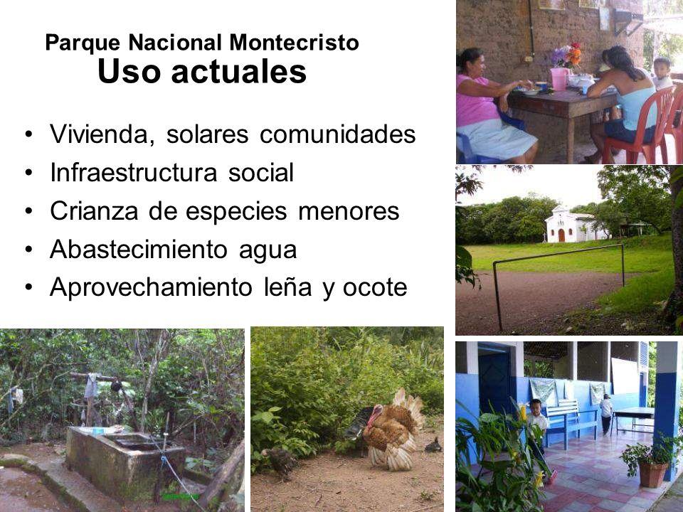 Vivienda, solares comunidades Infraestructura social Crianza de especies menores Abastecimiento agua Aprovechamiento leña y ocote Parque Nacional Mont