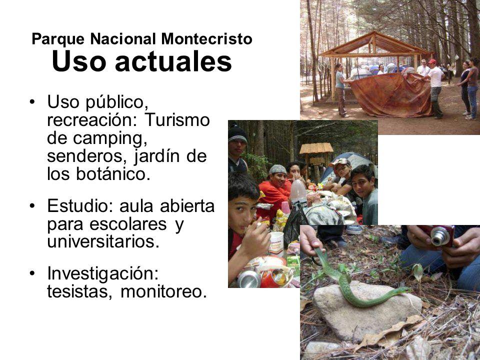 Parque Nacional Montecristo Riqueza biológica: Biodiversidad Ecosistemas: Bosque nebuloso; Bosque pino-roble; Bosque tropical sub-caducifolio (bosque seco); Plantaciones de ciprés.