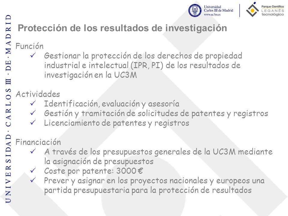 Protección de los resultados de investigación Función Gestionar la protección de los derechos de propiedad industrial e intelectual (IPR, PI) de los r