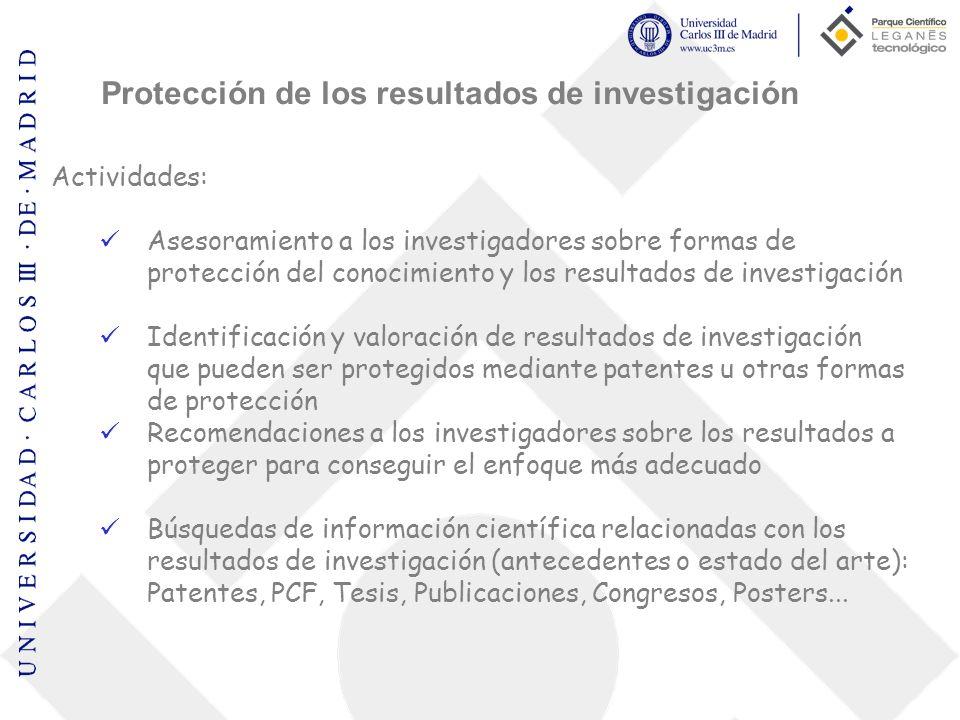 Actividades: Asesoramiento a los investigadores sobre formas de protección del conocimiento y los resultados de investigación Identificación y valorac